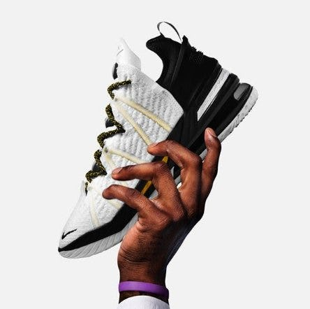 "Black and white Nike LeBron XVIII 'Home"" shoes"