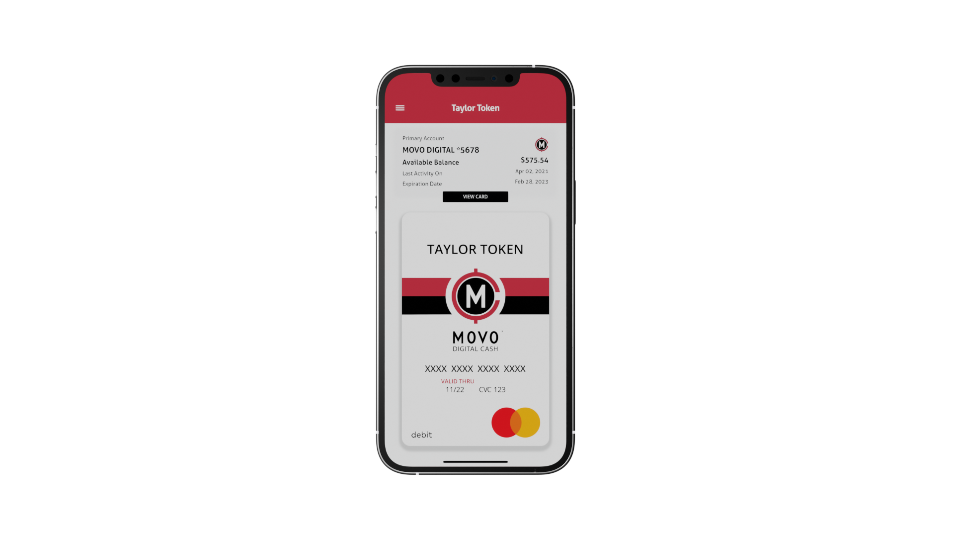 Digital MOVO debit card