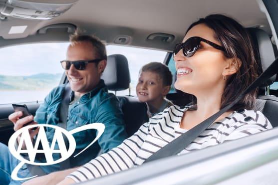 AAA logo - Happy family inside the car