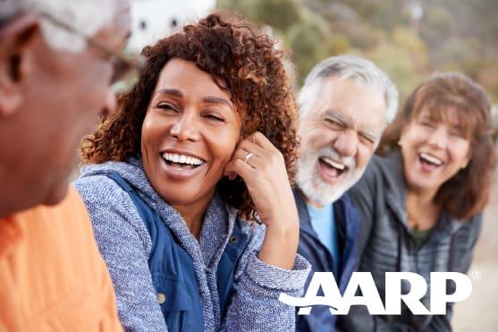 AARP Logo - Group of elders having a good time