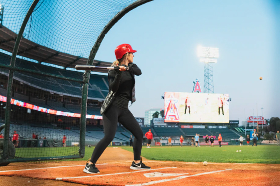 Woman as the batter position at Angel Stadium of Anaheim