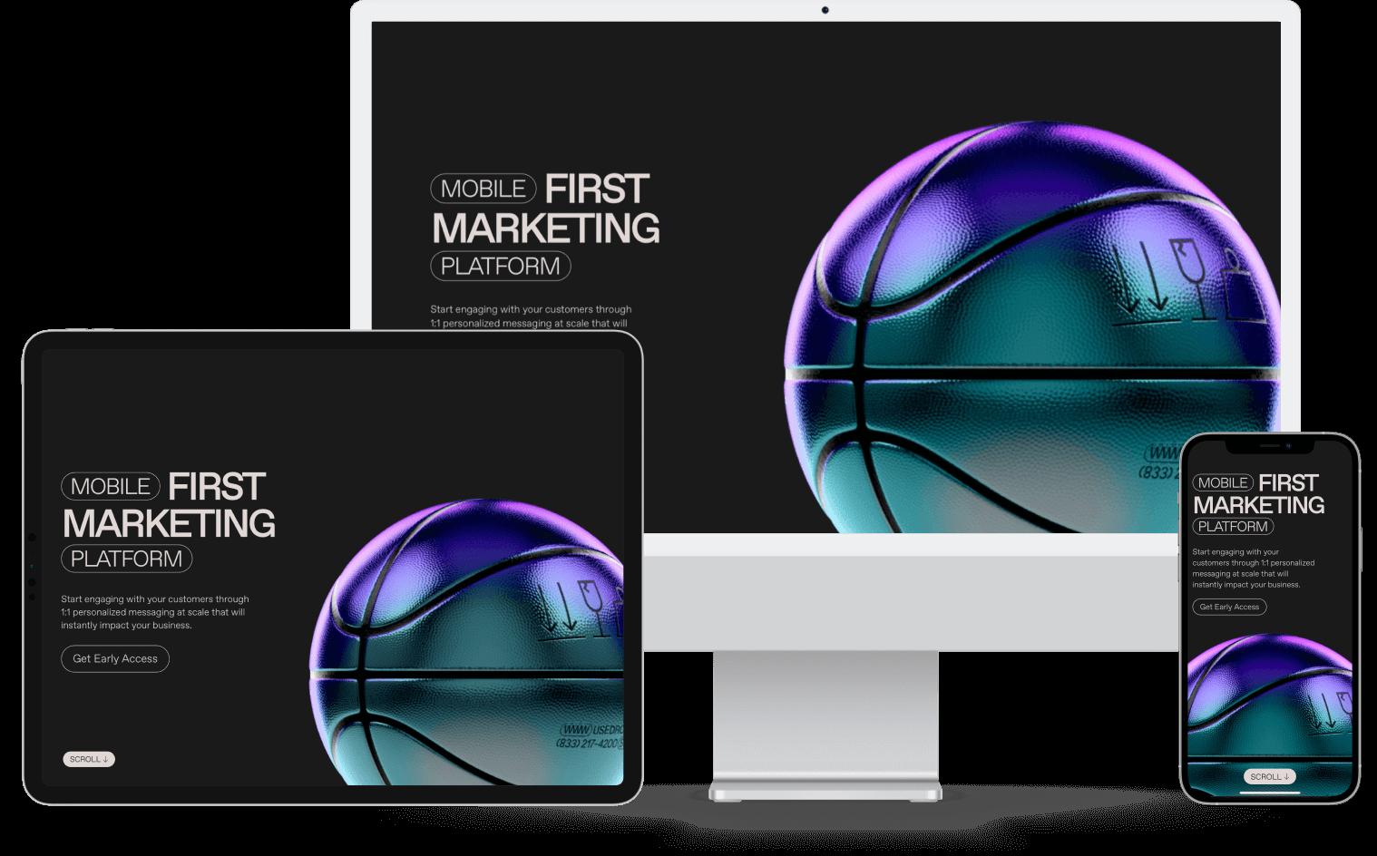 Webflow Webseite geöffnet auf Desktop, Tablet und Mobile