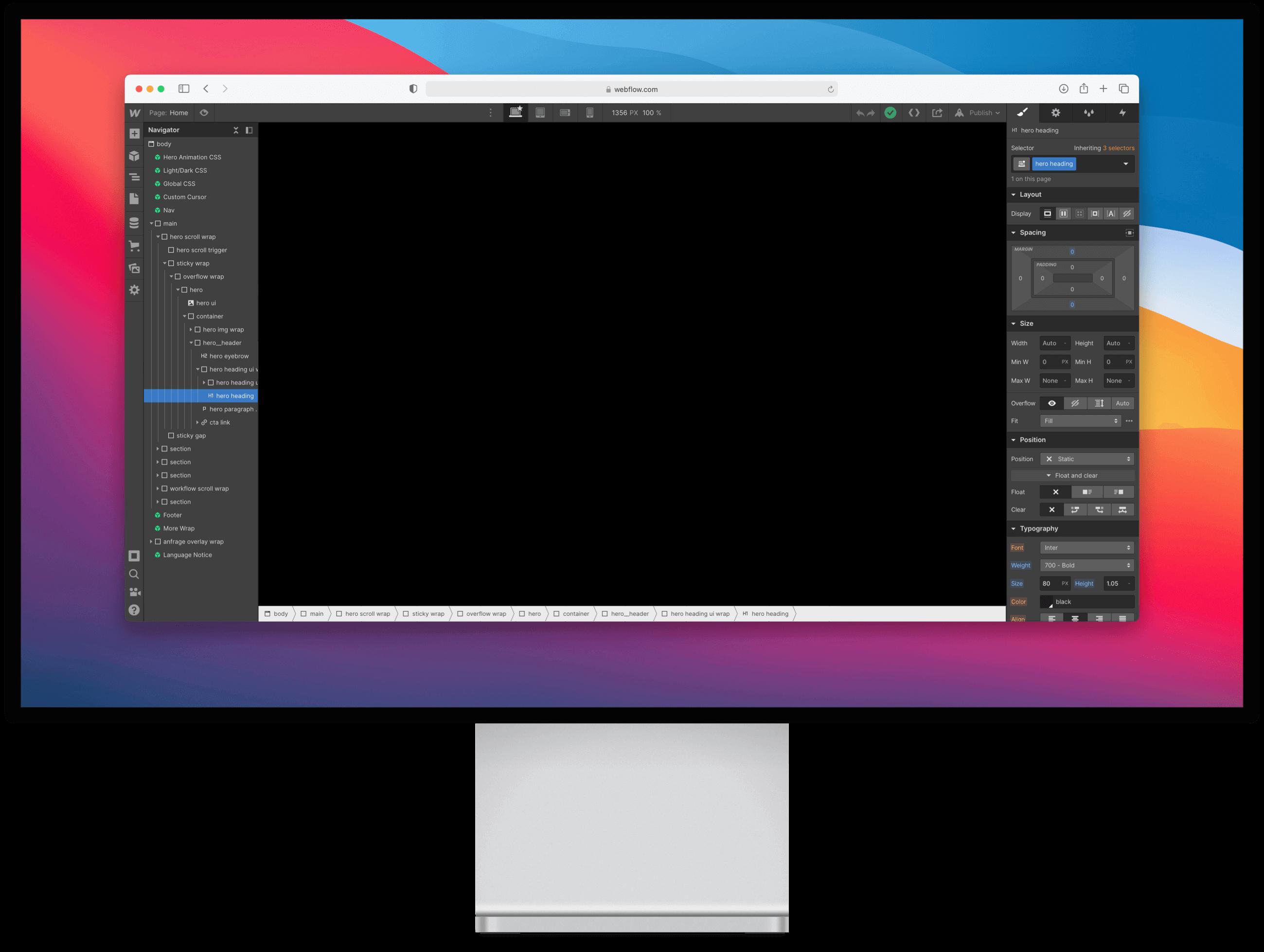 Display mit Webflow Interface