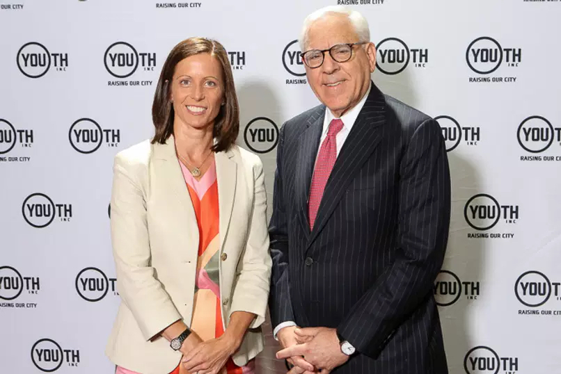Adena Friedman with David Rubenstein, Co-Founder and Co-Chairman of The Carlyle Group at a Youth INC event