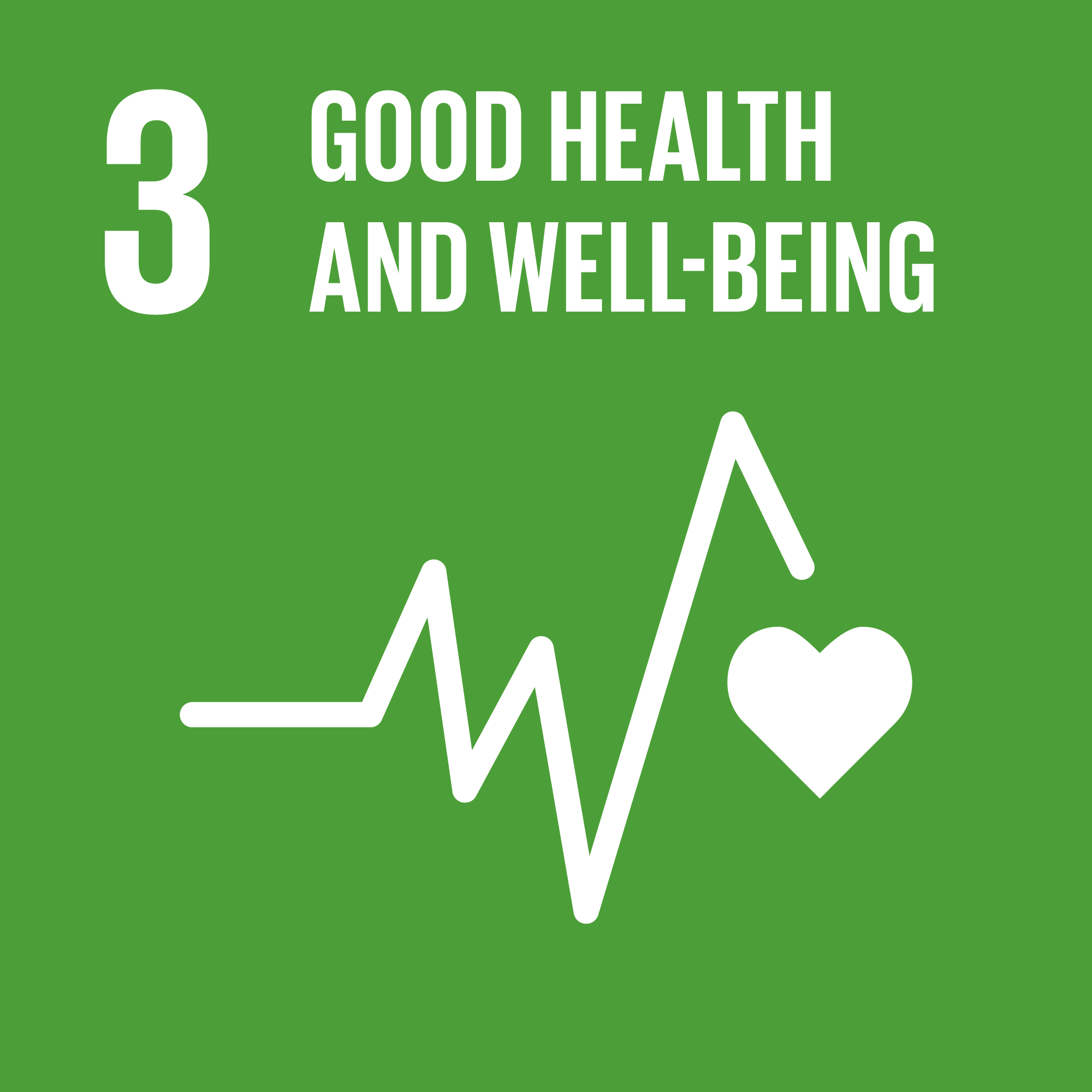 Icon for the global goals number 3, Good health and well-being