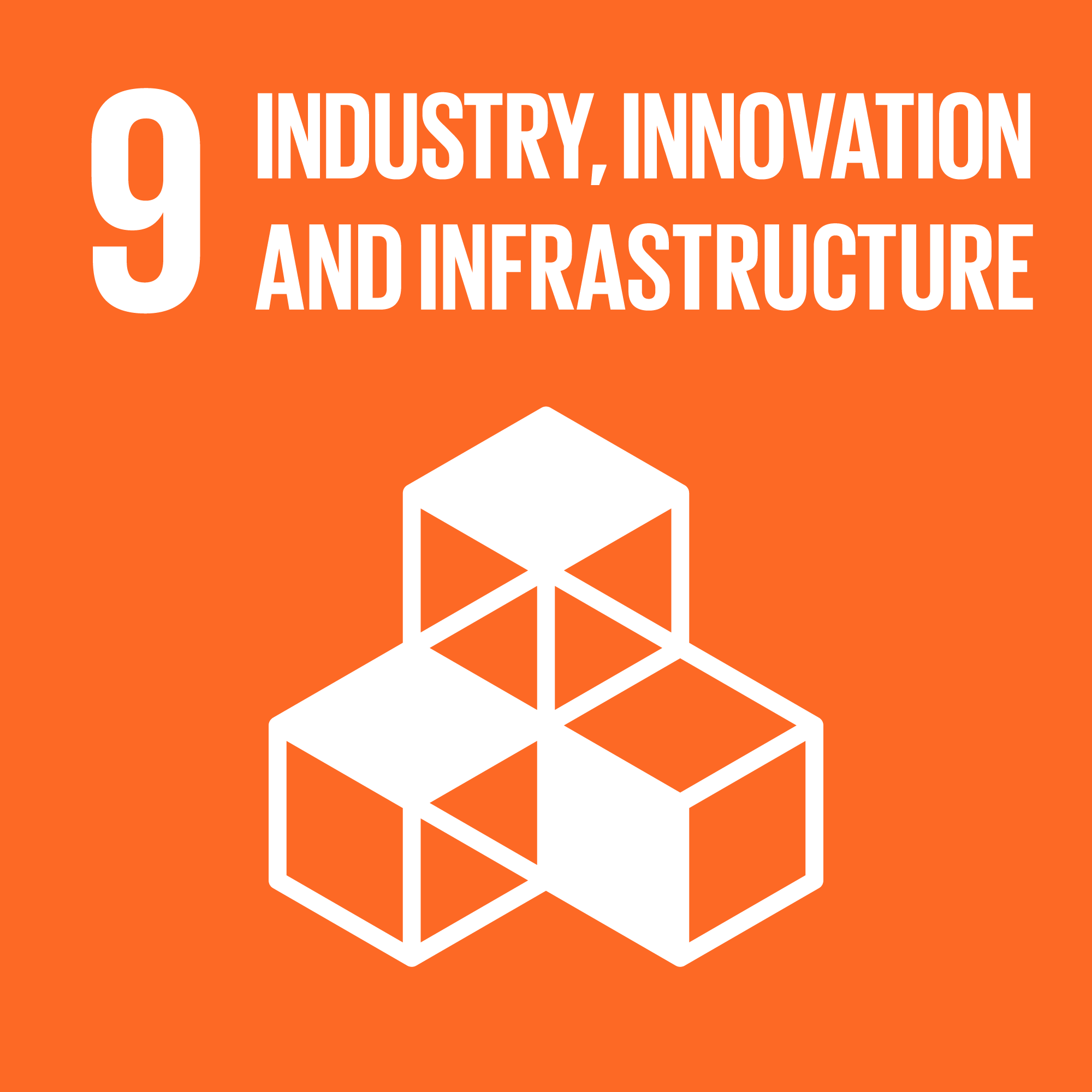 Icon for the global goals number 9, Industry, innovation and infrastructure