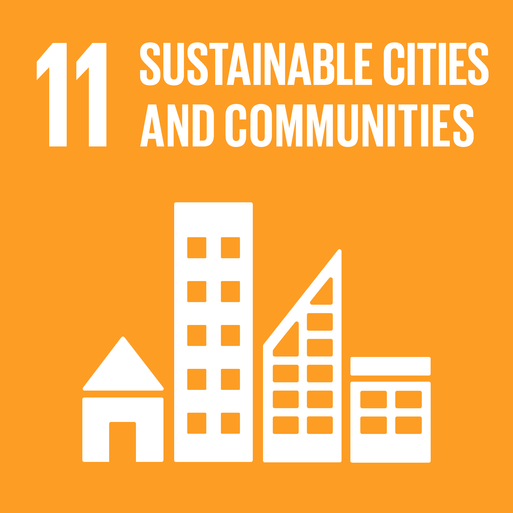 Icon for the global goals number 11, Sustainable cities and communities