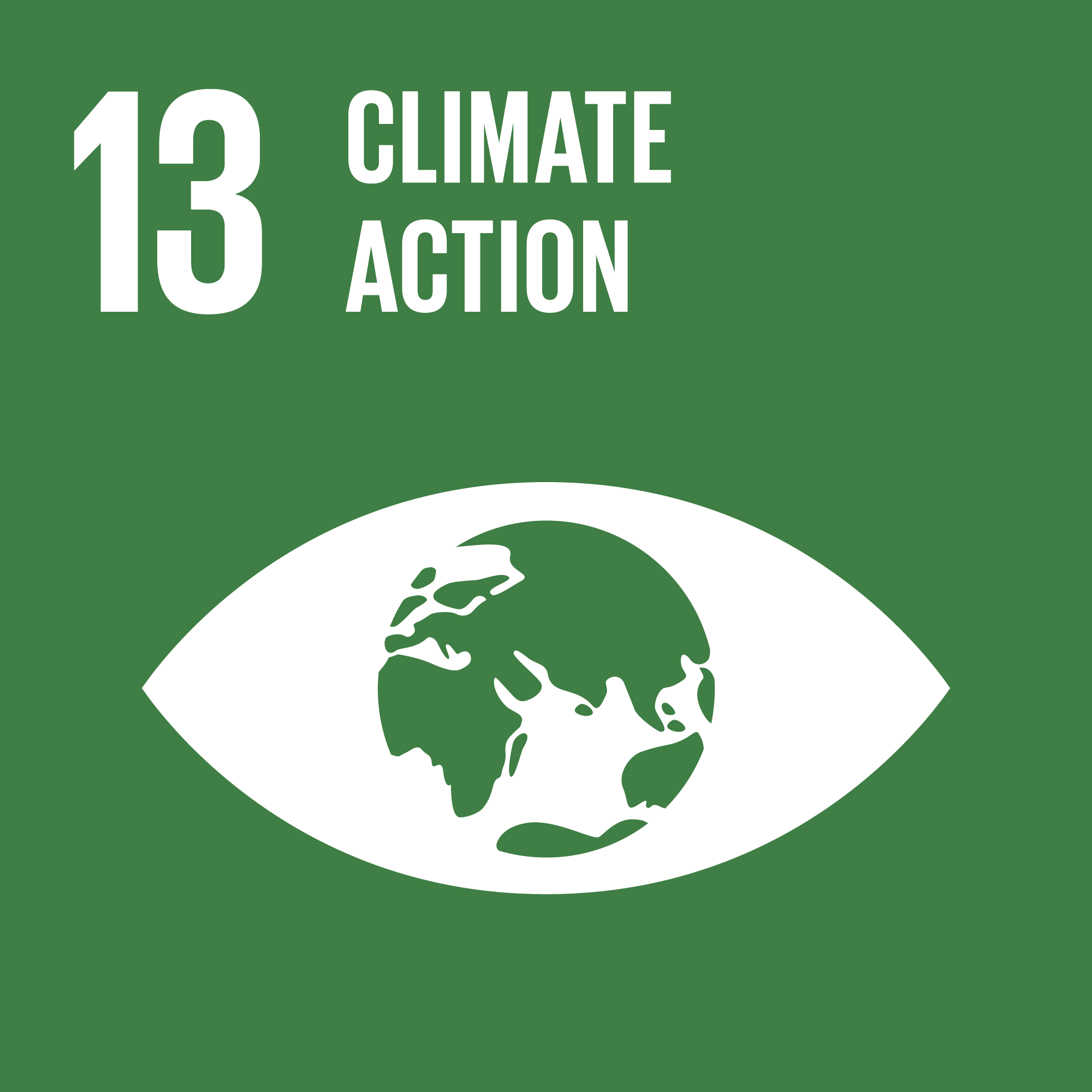 Icon for the global goals number 13, Climate action