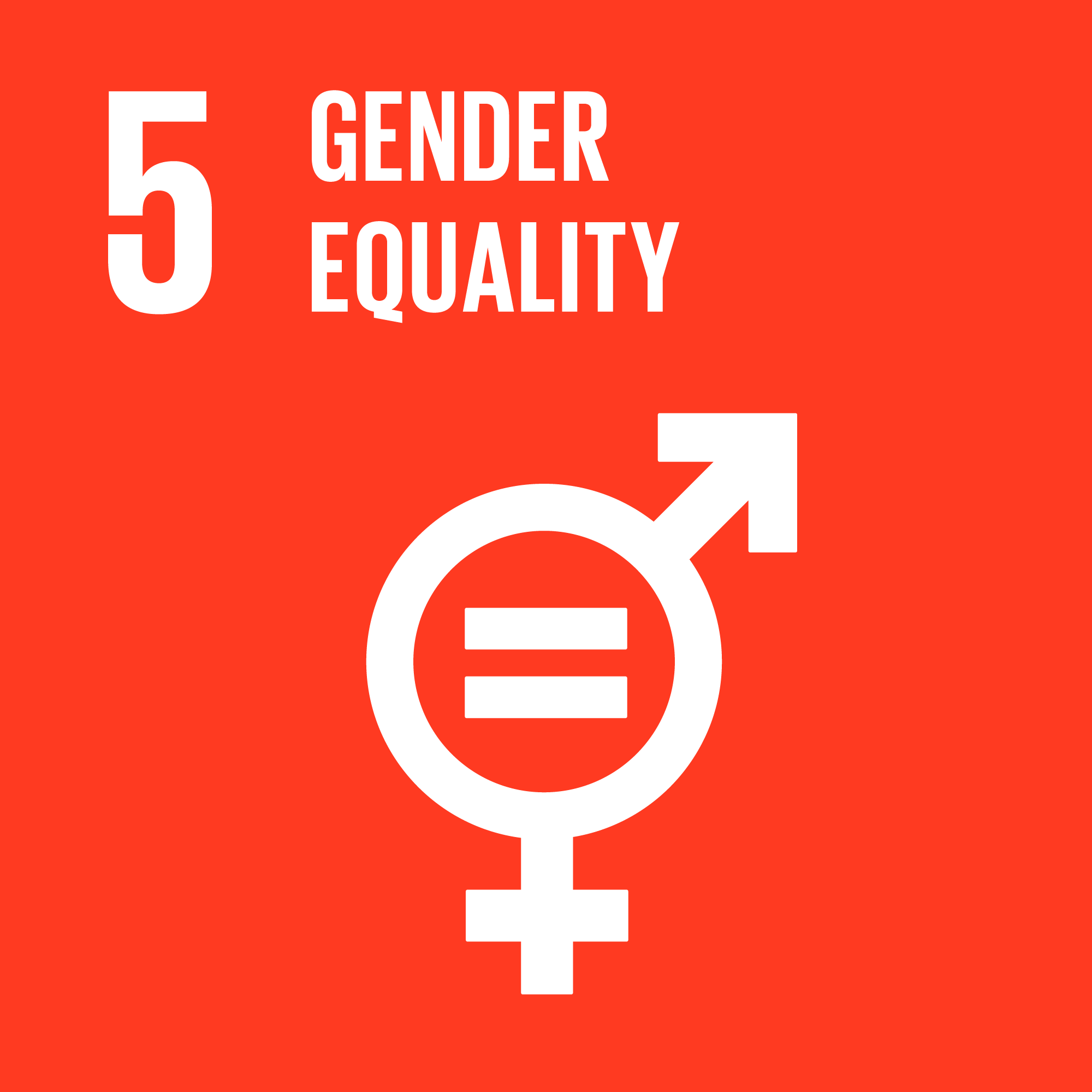 Icon for the global goals number 5, Gender equality