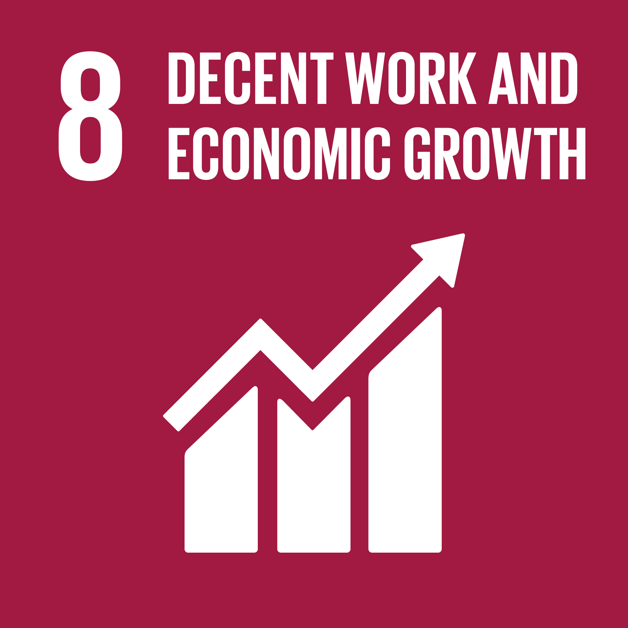 Icon for the global goals number 8, Decent work and economic growth