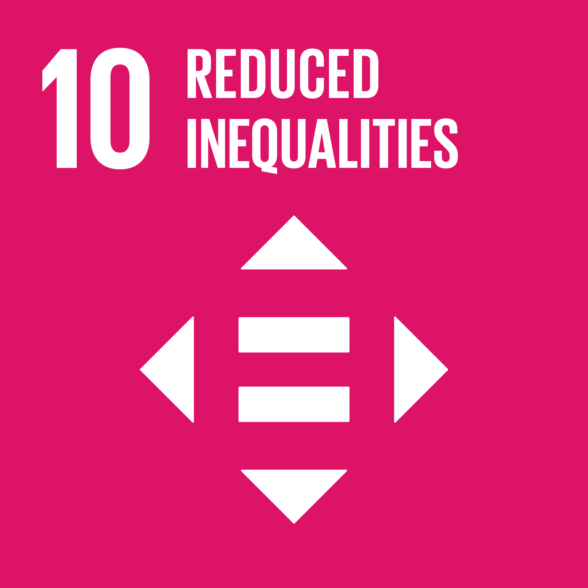 Icon for the global goals number 10, Reduced inequalities