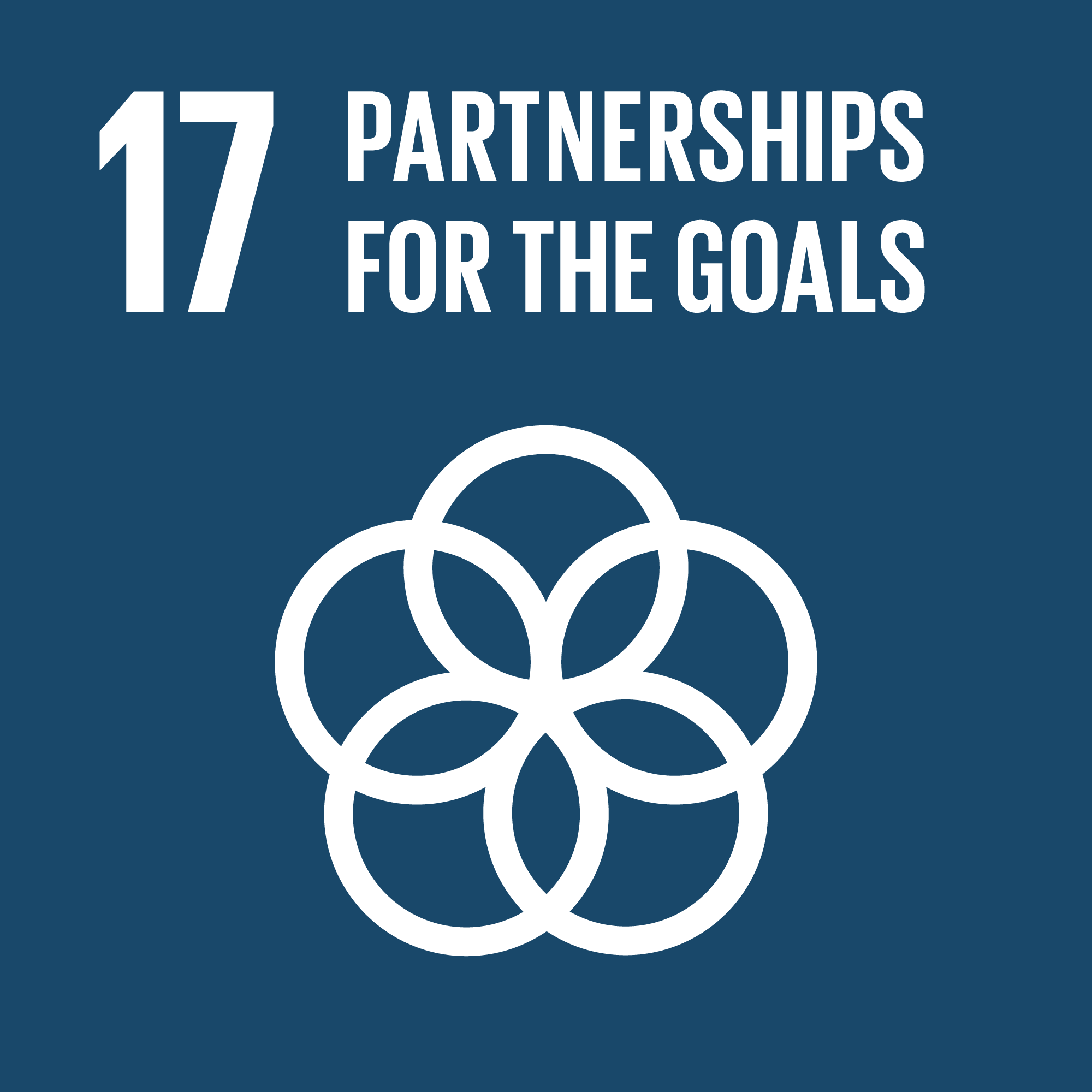 Icon for the global goals number 17, Partnership for the goals