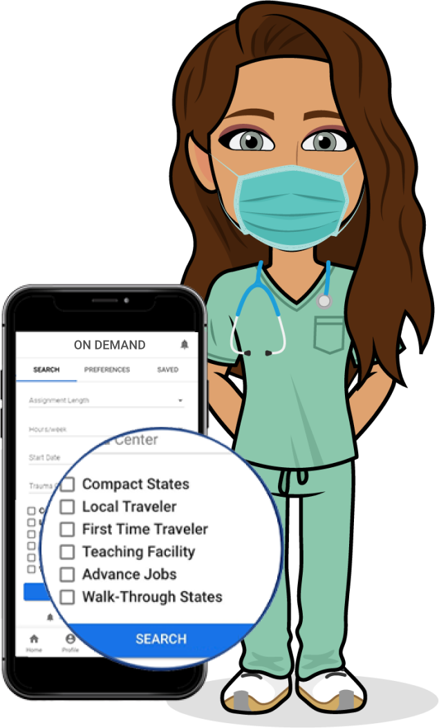 Travel nurse using a face mask standing with a phone