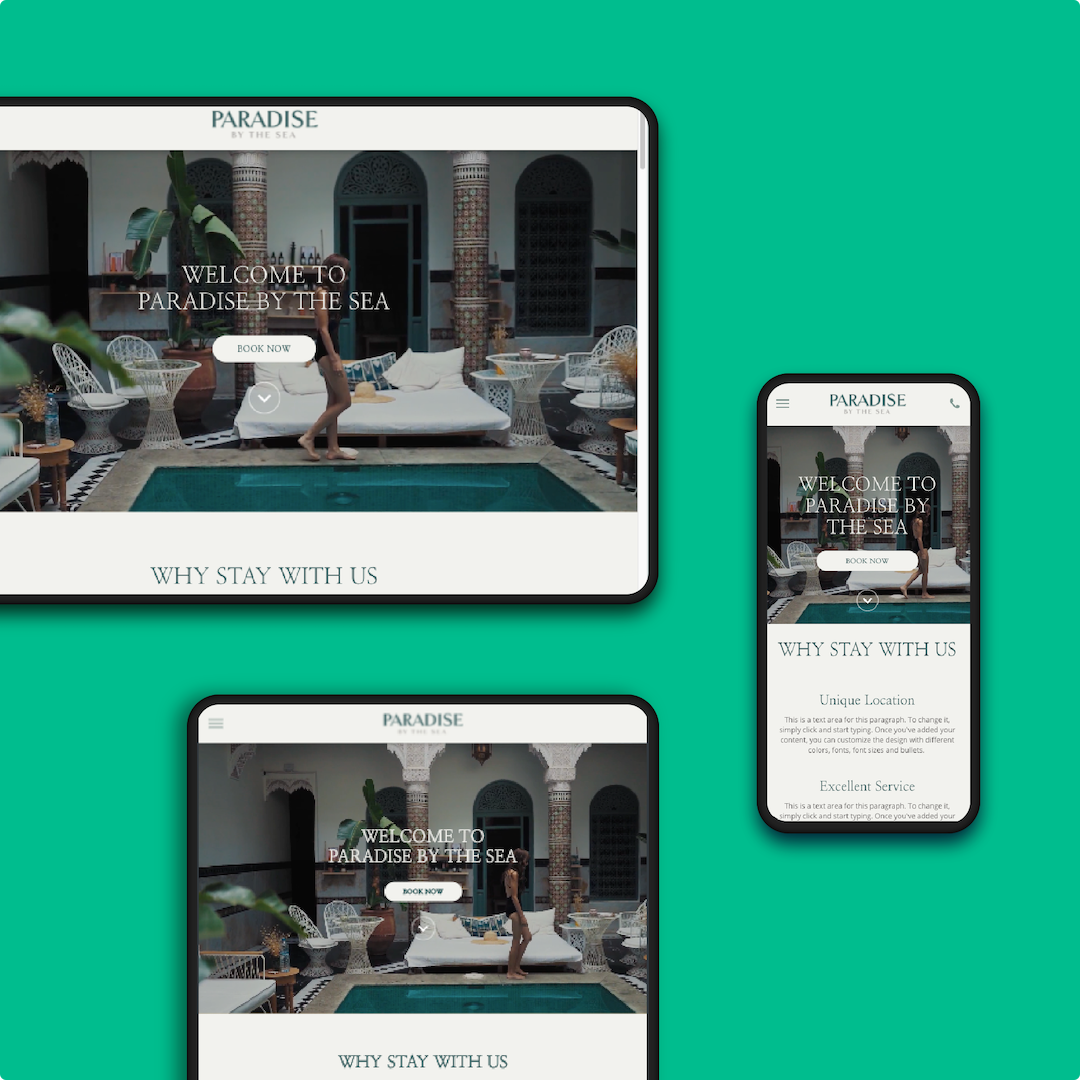 A laptop, tablet and mobile device show the responsive design of Hotelchamp eCommerce website templates