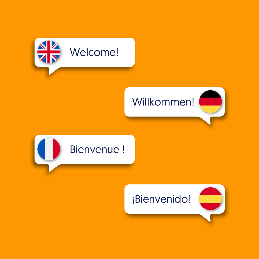 """""""Welcome"""" in four different languages"""