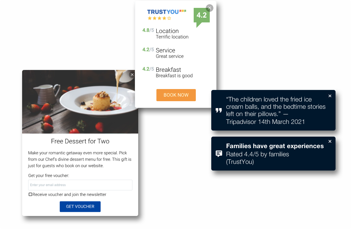 Three examples of Hotelchamp Convert interactions that can be used in different settings on a hotel website.