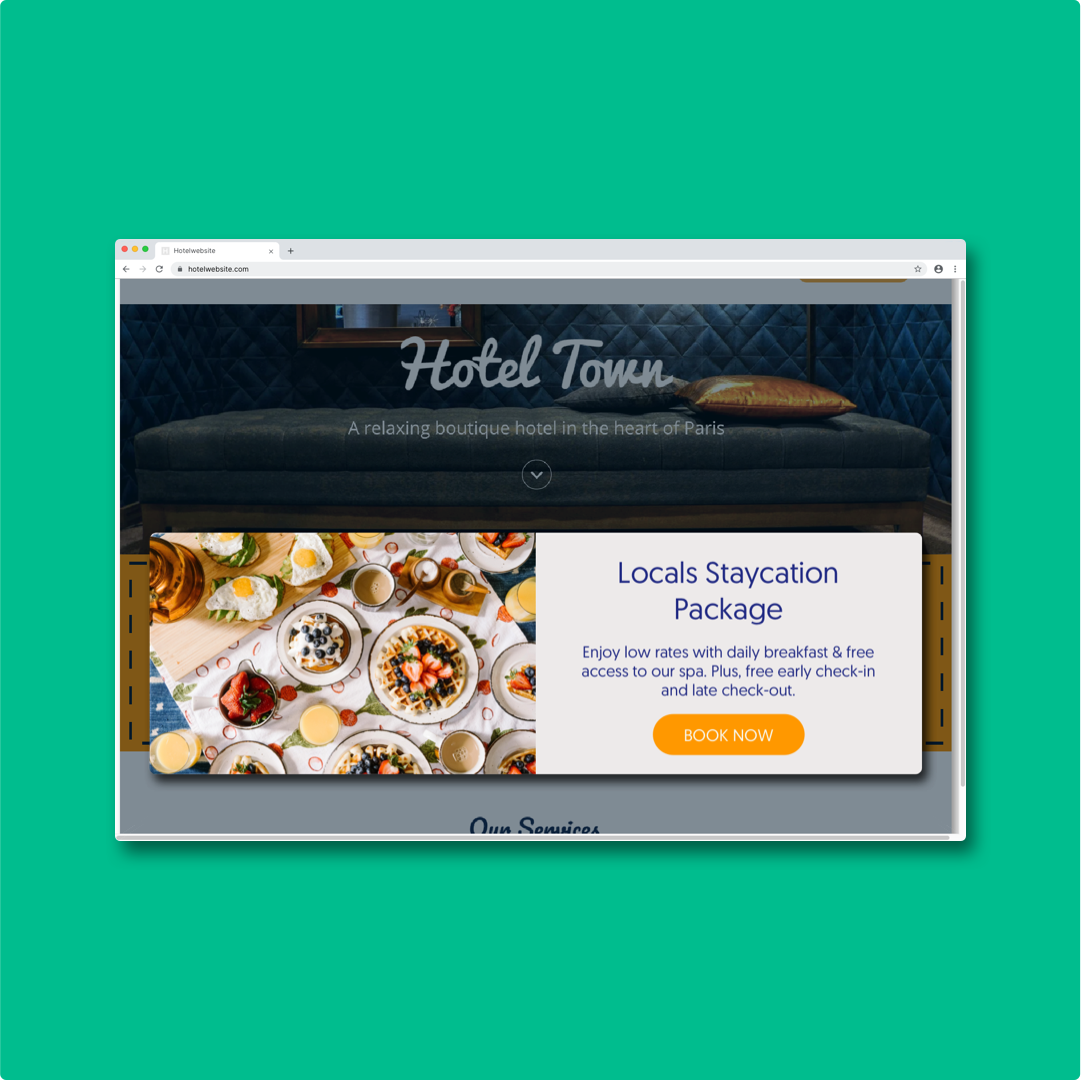 An example of a Hotelchamp Convert Inline interactions that can be used in different settings embedded in a hotel website.