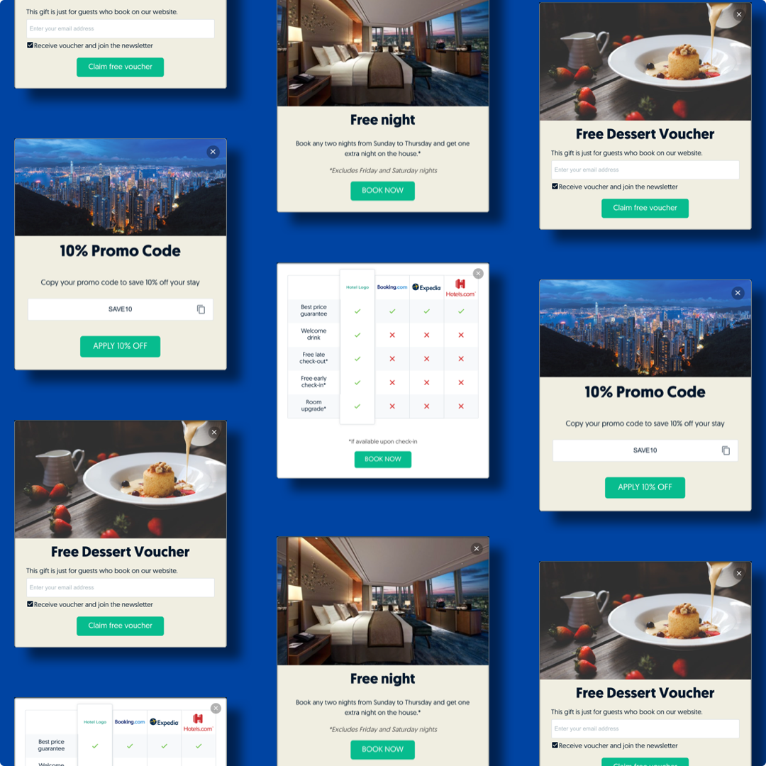 Examples of Hotelchamp Convert Exit interactions that can be used in different settings on a hotel website.