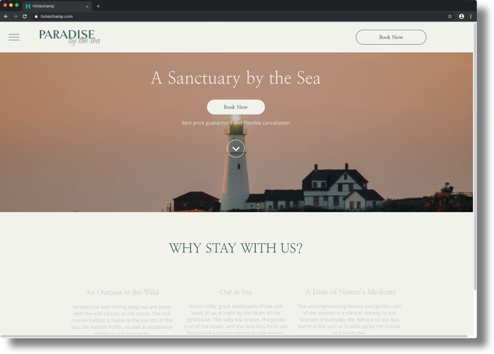 An example of a website template that can be used in Hotelchamp eCommerce
