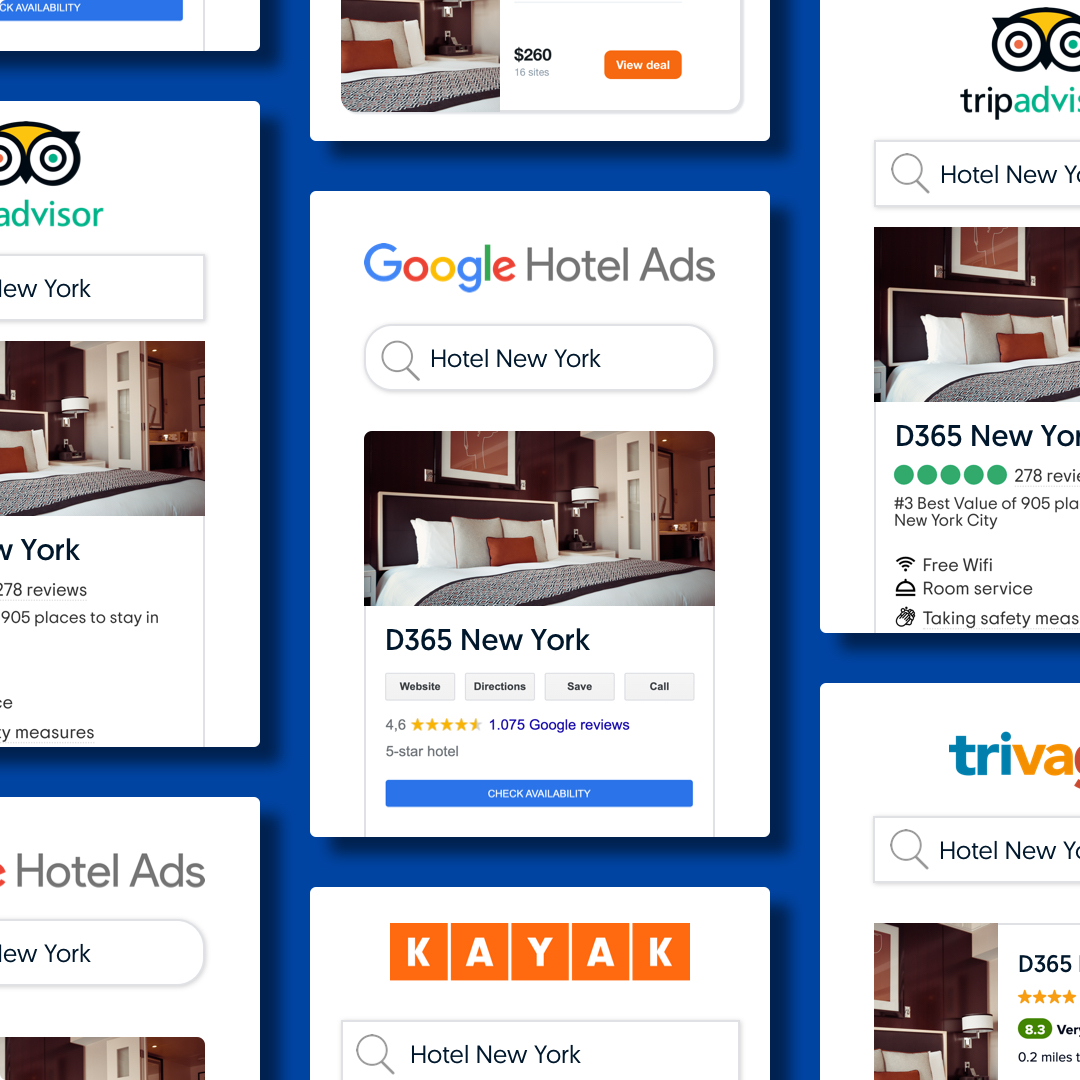 Examples of hotel metasearch results on Tripadvisor, Trivago, Kayak and Google Hotels