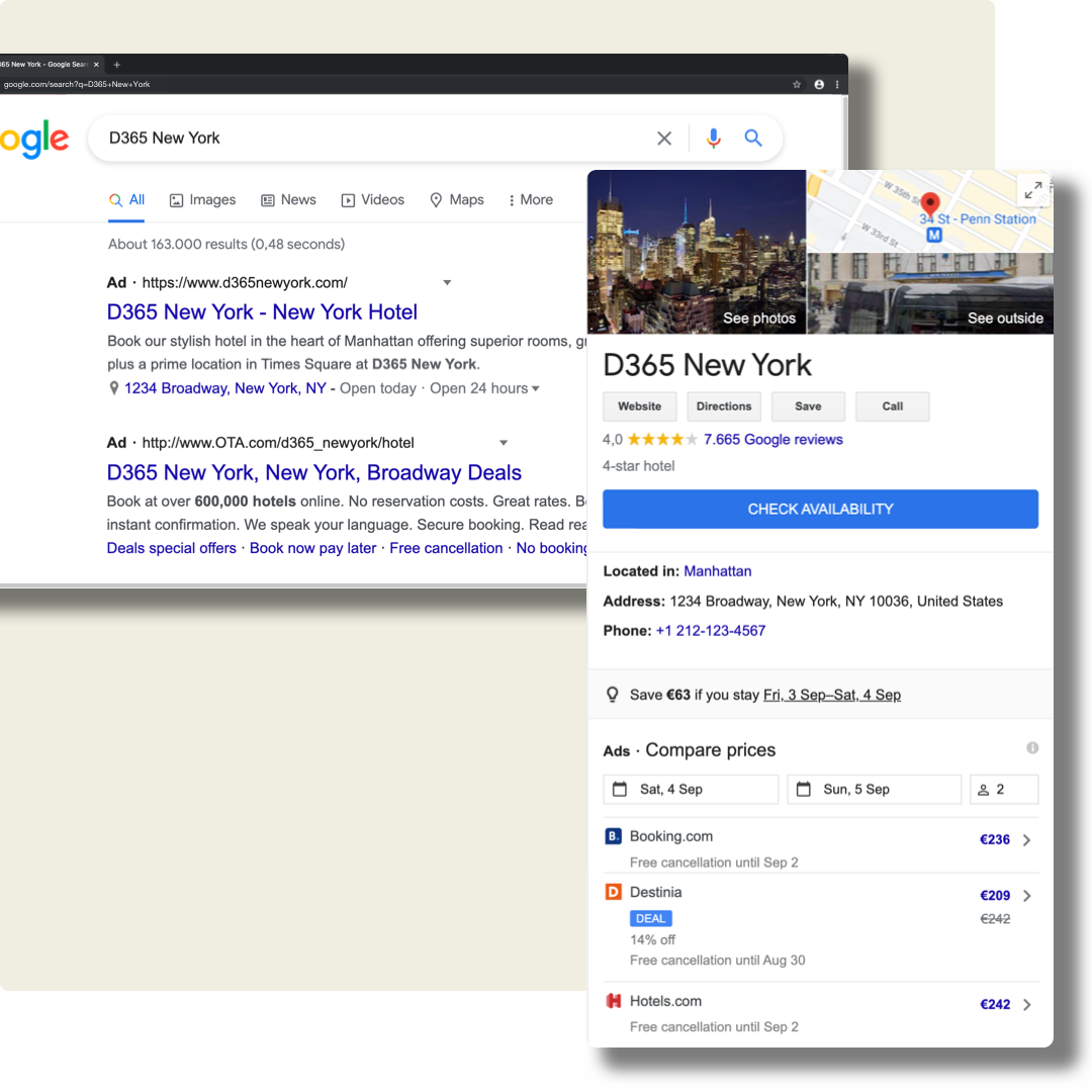 An example of hotel and metasearch results Google