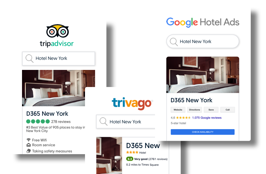 Three examples of hotel metasearch results on Tripadvisor, Trivago and Google Hotels