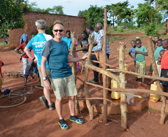 Julian Gabriel next to a water borehole