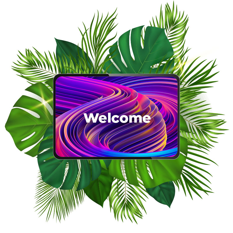Beautiful swirl welcome graphic on tablet
