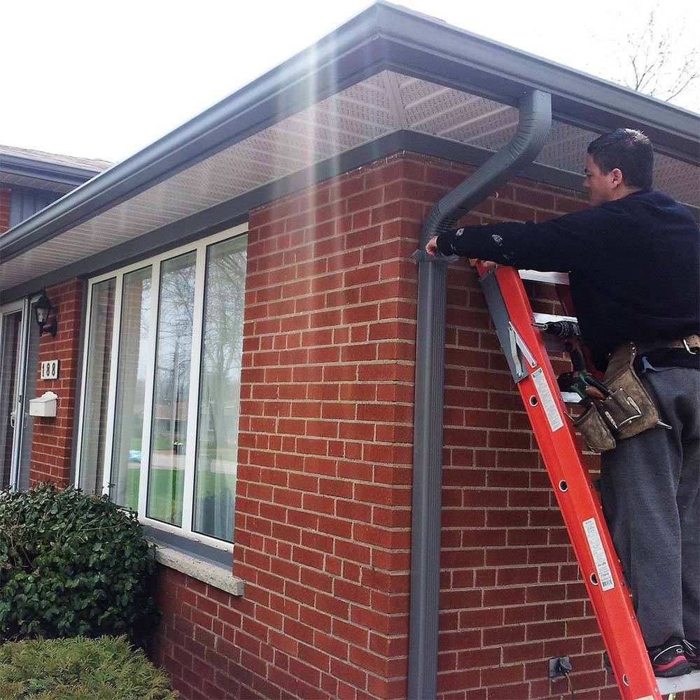 Gutter and downspout installation in Calgary