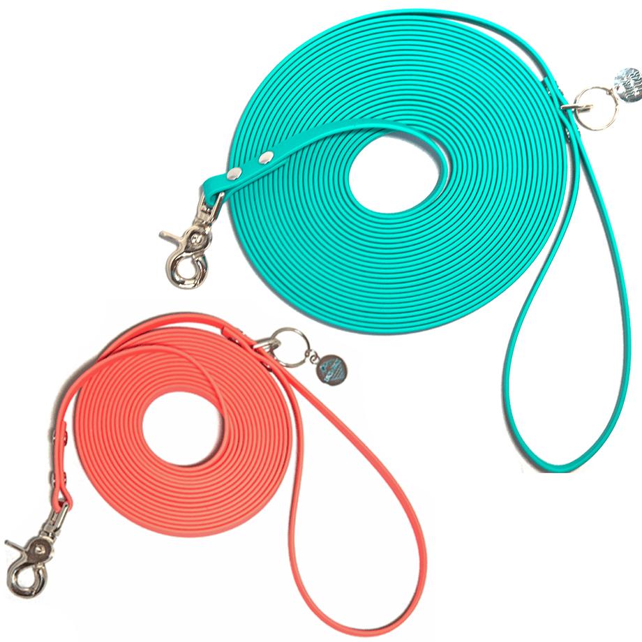 A 15 foot biothane long leash