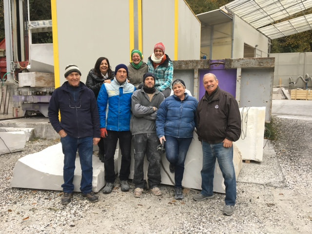 Merble sculpture crew in Cararra, Italy