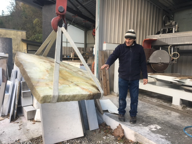 Selecting marble slabs for sculpting in Carrara Italy
