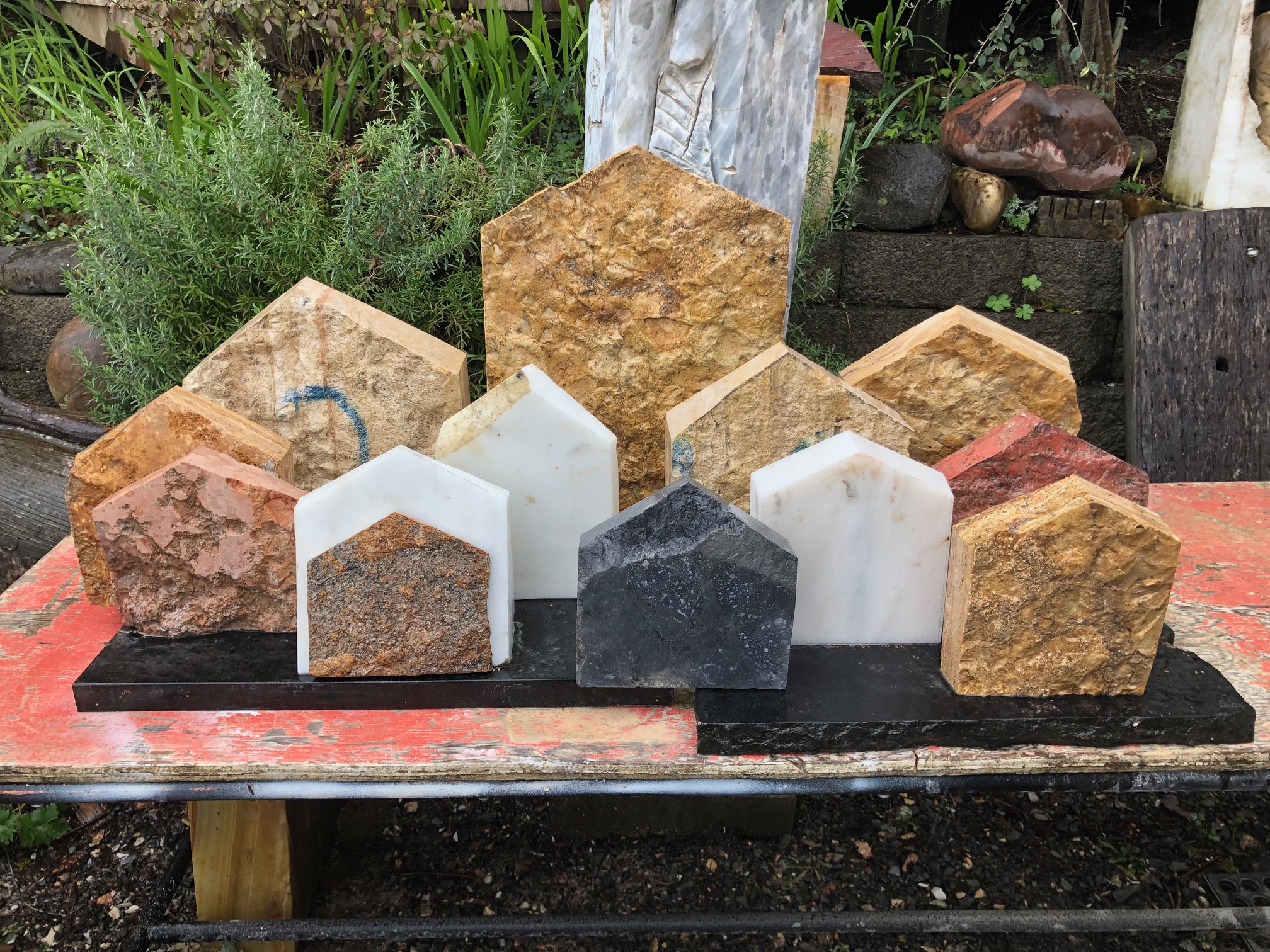 Abstract sculptures at MJ Anderson's Nehalem Studio