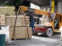 Loading crates of marble in Carrara, Italy