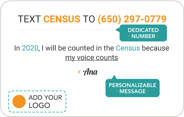 """Pledge to be counted in the 2020 census Pledge Card that reads """"TEXT PLEDGE TO 987987. In 2020, I will be counted in the Census because I care about money for my community. Census Outreach"""""""