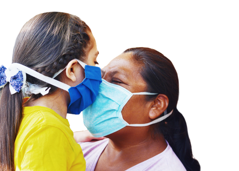 A young girl and a woman embracing face to face, while wearing masks
