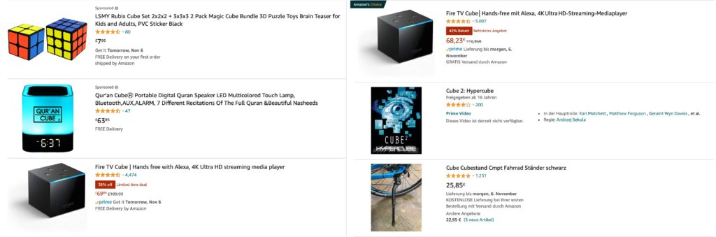 Amazon cube product search results
