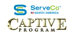 serveco north america logo with the text captive program under it