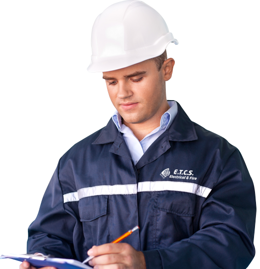 An ETCS worker in a hard hat