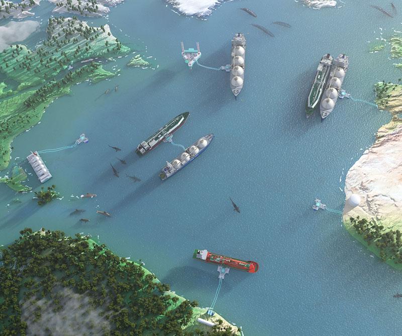 Jettyless LNG world map