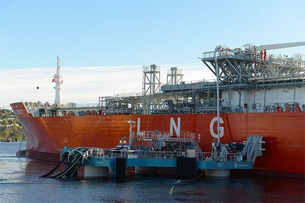 Jettyless LNG transfer from ship