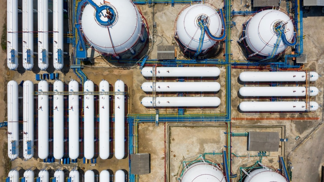 Aerial view of onshore storage tanks at an LNG plant