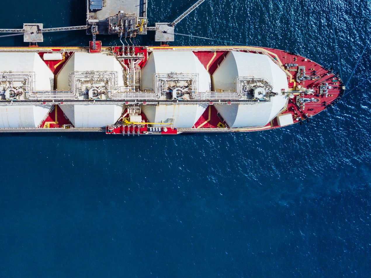 LNG tanker moored to quay with mooring lines