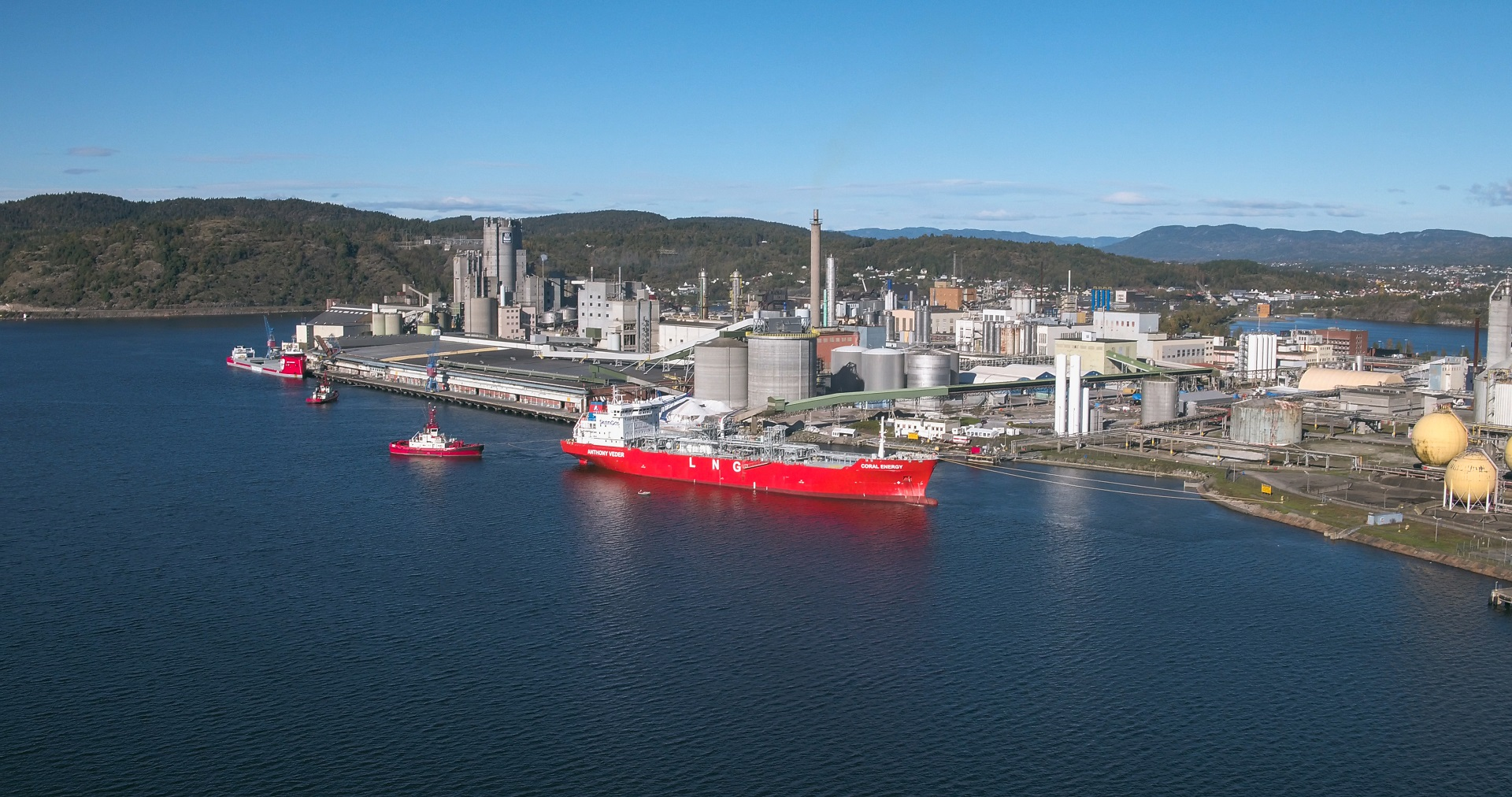 LNG carrier at Herøya industry park in Norway