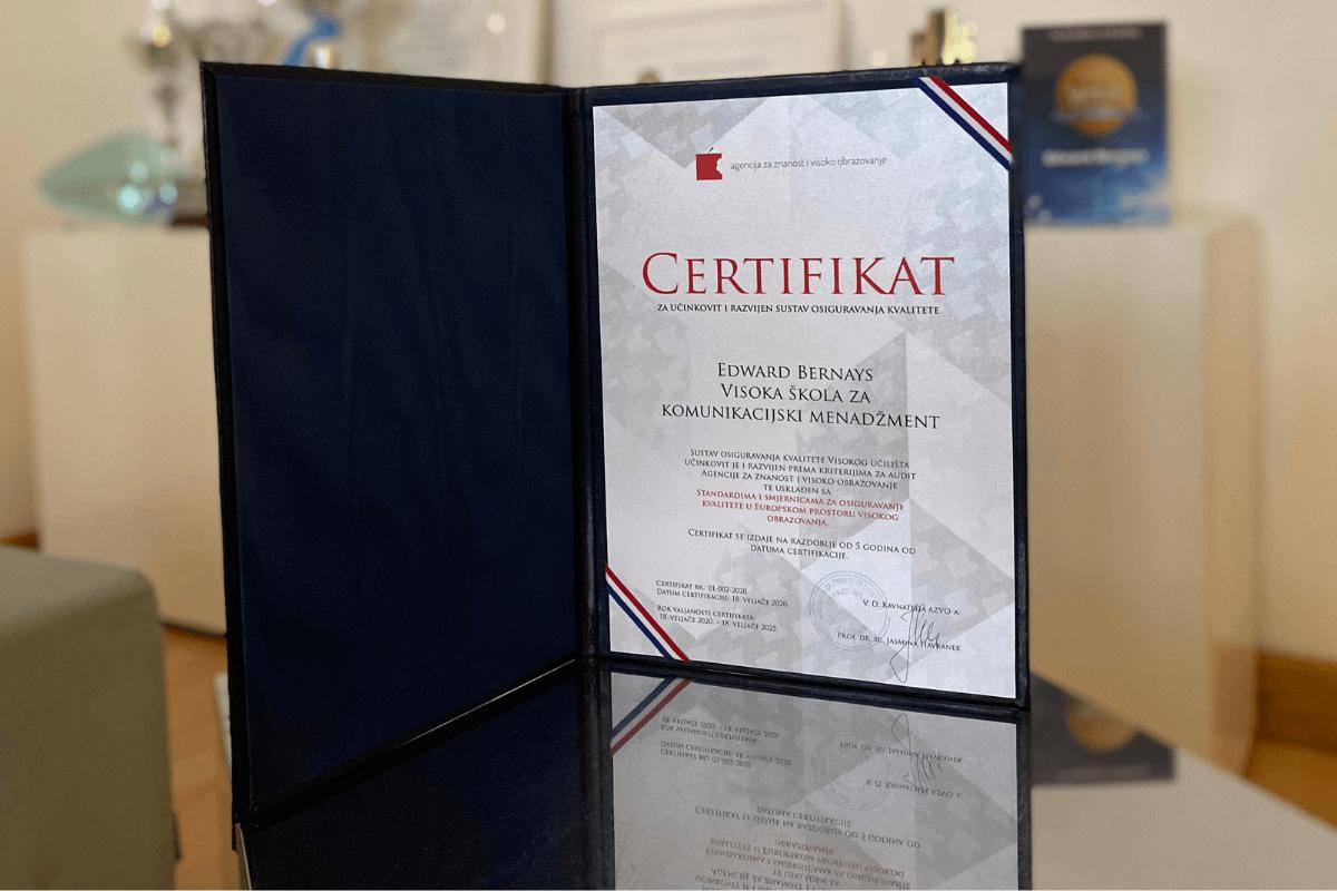 Bernaysu dodijeljen Certifikat izvrsnosti za osiguravanje kvalitete