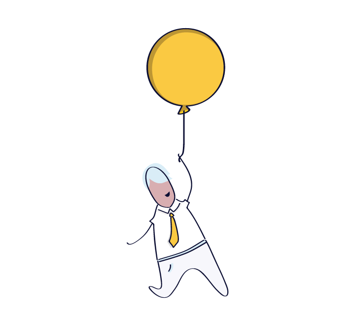 Illustration of a man holding a yellow balloon