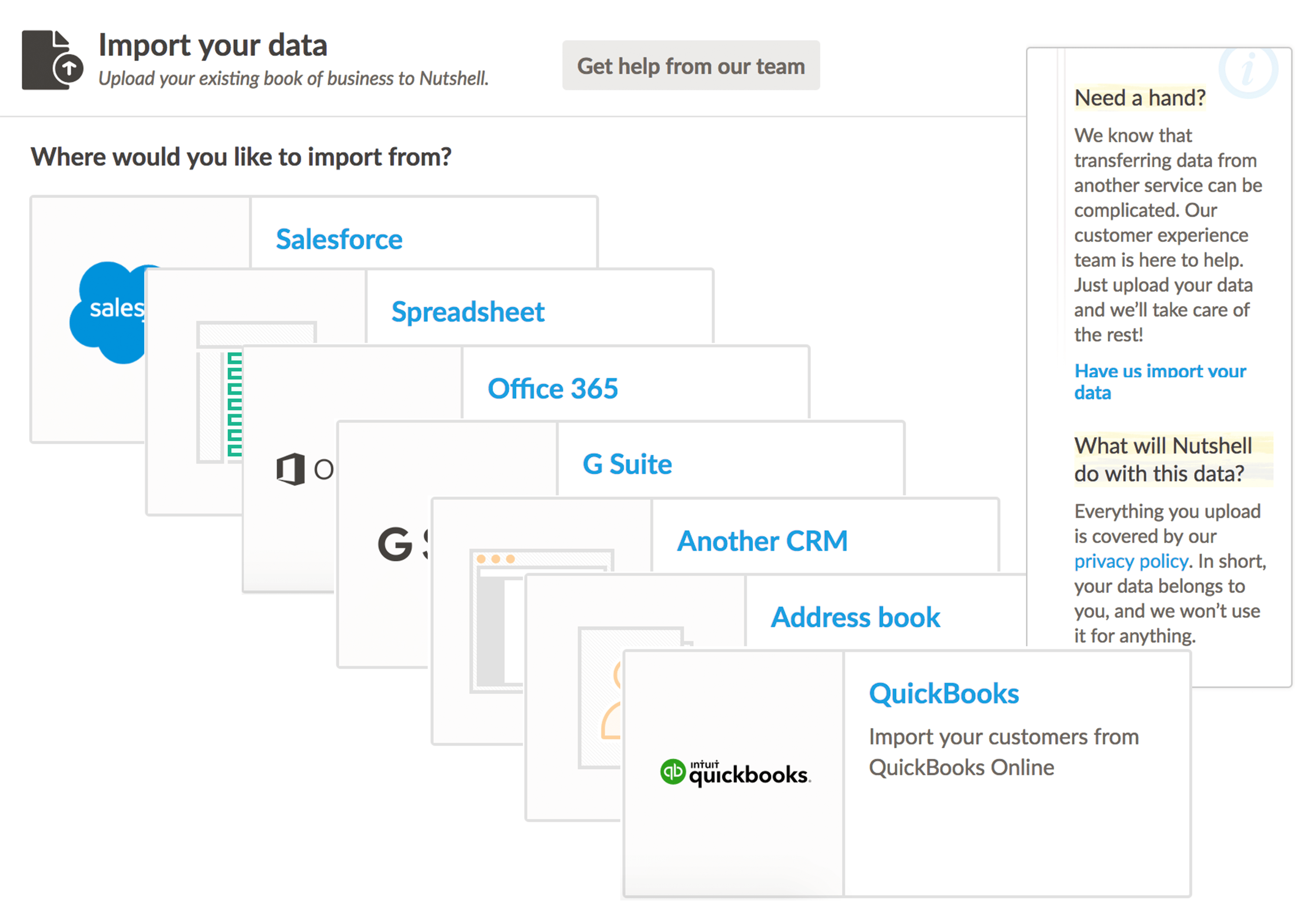 Screenshot of Importing Data to Nutshell CRM