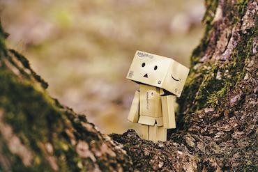 Scared cardboard robot