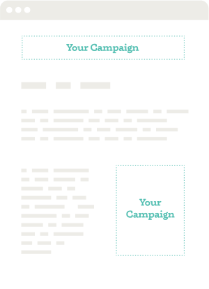 Digital Marketing Campaign Display ad mockup showing a website with banner ads highlighted on the the page