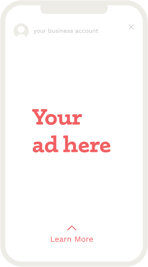 An ad displayed on a mobile device that is part of a social media campaign that is offered through Nimble Digital.